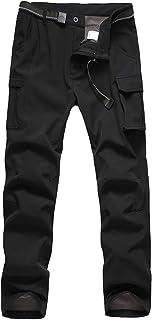 JOMLUN Boy's Waterproof Softshell Pants Windproof Warm Fleece Lined Trousers for Outdoor Ski Hiking Walking