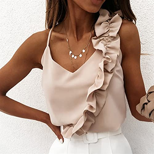 Mujer Blusa de verano Camisas en V Cuello Ruffle Blusas Backless Spaghetti Strap Office Señoras Sin mangas Casual Tops (Color : Beige, Size : Medium)
