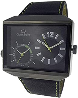 Charles Delon Mens Quartz Watch, Analog Display and Leather Strap 5383 GBBE