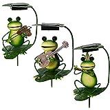Metal Frog Garden Decor Solar Garden Light Stakes Patio Lawn Outdoor Decoration , Set of 3