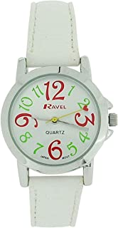 Ravel Ladies - Girls Silver Dial & White PU Buckle Strap Watch R0126.04.2