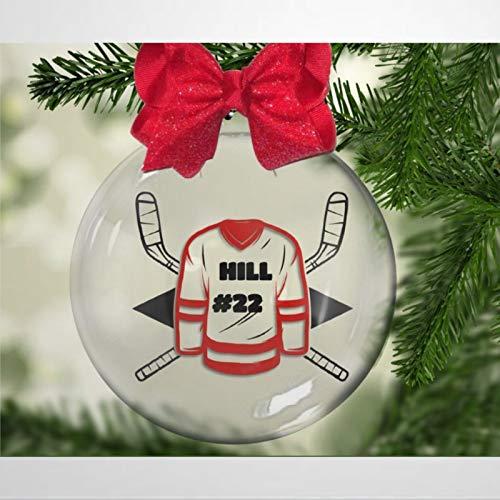DONL9BAUER Hockey-Jersey, personalisierbare Weihnachtskugeln, Ornamente für Weihnachtsbaum, hängende Kugel, bruchsichere Weihnachtsdekorationen für Urlaub, Hochzeit, Party