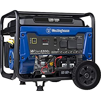 Westinghouse WGen5300s Storm Portable Generator with Electric Start and 120/240 Volt Selector 5300 Rated 6600 Peak Watts Gas Powered CARB Compliant RV and Transfer Switch Ready