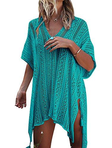 Jeasona Women's Bathing Suit Cover Up Beach Bikini Swimsuit Swimwear Crochet Dress (Green, M)
