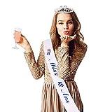 JNCH Écharpe Anniversaire Miss 18 Ans Fille avec Couronne Princesse Tiara Diadème en Strass Faux Cristal Birthday Décoration Accessoire Fête Cadeau pour Femmes Argent
