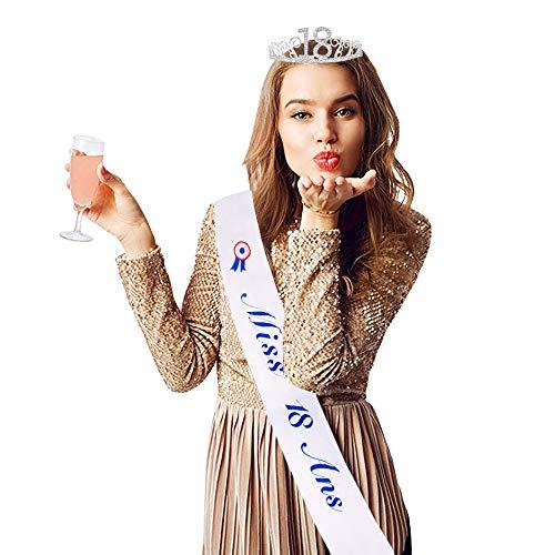 JNCH Écharpe Anniversaire Miss 18 Ans Fille avec Couronne...