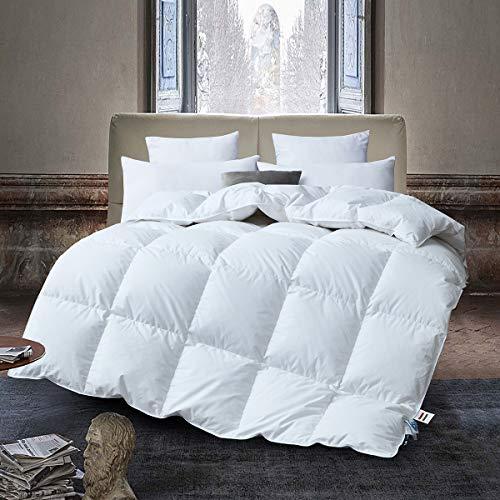 Deluxe Komfort Daunendecke, Bettdecke, 80% Gänsedaunen / 20% Feder, Füllgewicht 900 Gramm, Warm und Leicht, 135x200 cm