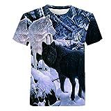 Cómoda Camiseta Creativa de Manga Corta, Frescos de Moda Unisex de Manga Corta de Camisas 3D Creativo Impreso Negro y Blanco Bosque Lobo en Nieve Gráficos Manera de La Personalidad Camisetas