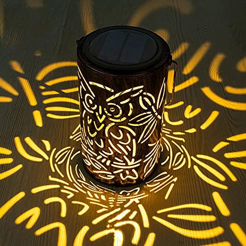 Linterna Solar LED, Lámpara Solar Linterna Solar Adornos para Exteriores, Linterna Solar Colgante de Jardín Luz Cilíndrica de Noche Impermeable IP44 con Sensibilidad a la Luz para Patio,Fiesta,Pared
