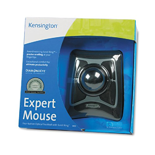 Kensington 64325 Expert Mouse Wired Trackball, Scroll Ring, Black/Silver