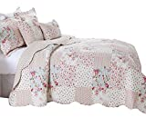 Oxford Homeware Ultra-doux 3 pièces matelassé Floral Couvre-lit patchwork...