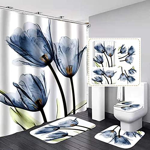 XCBN Vegetable peeler, multifunctional peeler, lotus, shower curtain, flower set, non-slip mat, toilet seat and bath mat, waterproof shower curtain A1 90x180cm