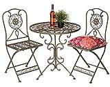 DanDiBo Sitzgruppe Eisen Garten Antik Bistroset Tecla Bistrotisch mit 2 Stühlen klappbar Metall Gartentisch