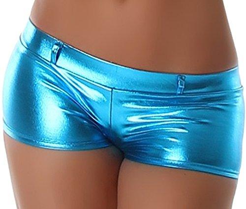 Jela London Wetlook GoGo Hot-Pants Shorts Panty kurz Glanz metallic, Türkis S (34/36)