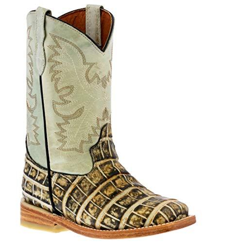 Kids Natural Western Cowboy Boots Alligator Pattern Leather Square 9 Toddler