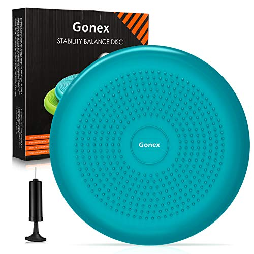 Gonex Wiggle Seat, Balance Disc for Sensory Kids Balance Disk for Excise Stability Wobble Cushion for Office Chair Physical Therapy Fidget Seat for Home School Classroom, Pump Included, 1pc Turquoise