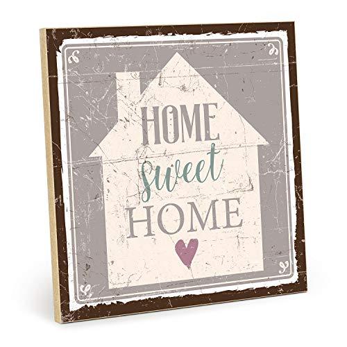"""TypeStoff Cartello in Legno con Scritta """"Home Sweet Home"""" – in Stile Vintage con Citazione Come Regalo e Decorazione (Dimensioni: 19,5 x 19,5 cm), 19,5 x 19,5 cm"""