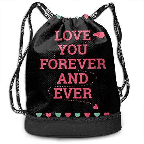 Petrichor Yi Gym Sack Love You Forever Print Drawstring Bags - Sac à Dos à Poche Simple Bundle