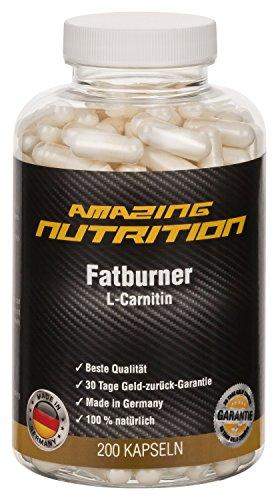 L-Carnitin 500mg - 200 Kapseln Hochdosiert - Fatburner und Appetithemmer - Abnehmen - Mehr Energie - Reine Essentielle Aminosäuren - Made in Germany von Amazing Nutrition