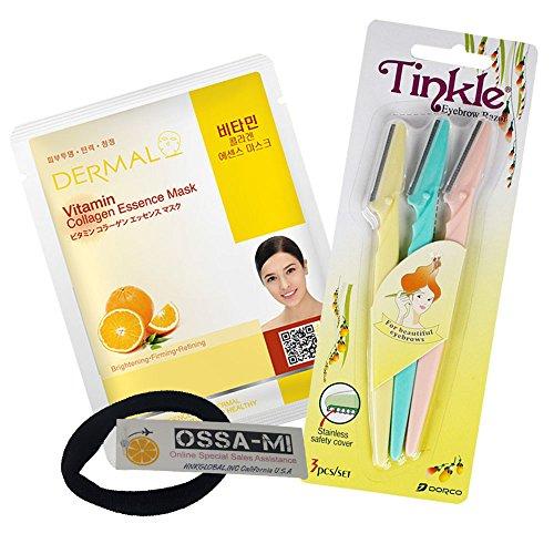 OSSAMI TD Set - Tinkle Eyebrow Razor 3ea & Dermal Essence Face Mask 1ea (Tinkle 1 Dermal 1)