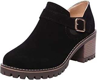 Funnygals - Womens Ladies Chelsea Ankle Boots Chunky Platforms Faux Suede Block High Heels Slip On Shoes Size