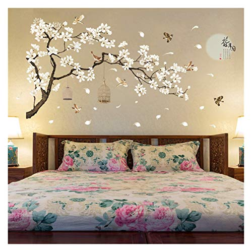 JSJJAYU Wall Stickers Big Size Tree Wall Stickers Birds Flower Home Decor Wallpapers for Living Room Bedroom Decoration 187 * 128cm
