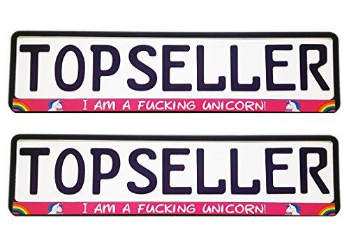 Warenfux24 2 x Kennzeichenhalter Nummernschildhalter Einhorn Pink Unicorn Stern Regenbogen