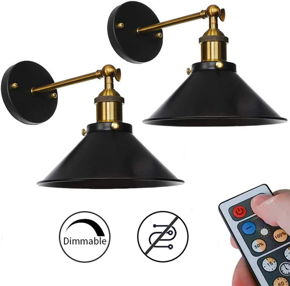 KAYYELAMP 2-Pack 100 Lumens Led Remote Control Battery Operated Indoor No Cord Wall Sconce Light Fixture for Room Lighting Wall Decor Bedroom- Easy Installation, Dimmable Control,Battery Not Included