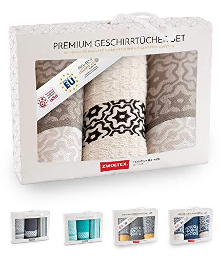 ZWOLTEX - Set di strofinacci in 100% cotone, made in EU, Oeko-TEX 100, strofinacci jacquard, set regalo – 2 strofinacci da cucina + 1 asciugamano Marsala cannella
