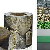 Sichtschutzstreifen PVC | Sichtschutzfolie Gartenzaun oder Balkon | inkl. 20 Befestigungsclips | für Einzel- und Doppelstabmatten geeignet | 19 cm x 35 m | einfarbig oder mit Motiv| Sandstein-Optik