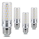 Lámpara LED E27 12W Equivalente a 120W Lámparas halógenas, 1320Lm Bombilla de maíz, CA 110-120V / 220-240V E27 Bombilla de Vela de Tornillo Edison, No Regulable, Sin Parpadeo, Paquete de 4