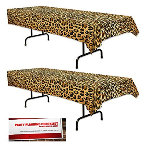2 Pack Leopard Print Plastic Table Cover 54 inches x 108 inches (Plus Party Planning Checklist by Mikes Super Store)