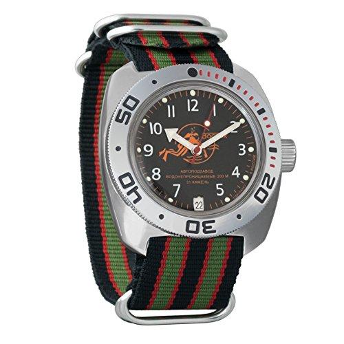 Vostok Amphibian automático Mens Reloj de pulsera de buceo Dude Self-winding Militar buceo anfibios Ministerio caso reloj de pulsera Negro Cara # 710380