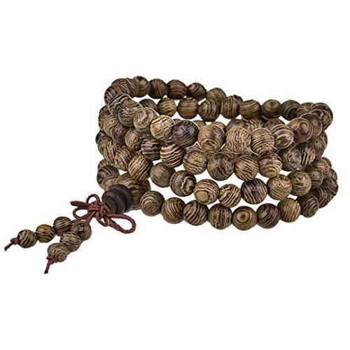 MJARTORIA Herren Damen Armband Lebensbaum Naturholz Kugel Strang Holz Perlenarmband Surferarmband Wickelarmband mit Schleife