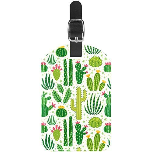 Etiquetas de Equipaje de Piel de Cactus Verde para Maleta de Viaje, 1 Paquete