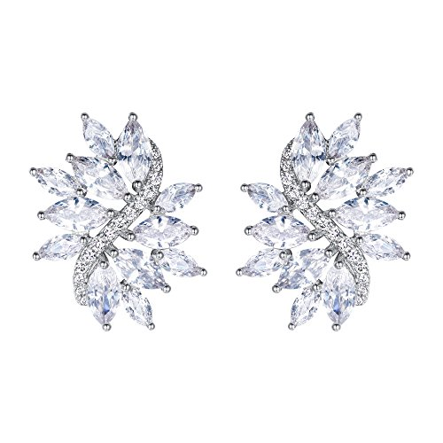 EVER FAITH Women's Cubic Zirconia Elegant Bridal Floral Leaf Pierced Stud Earrings Clear Silver-Tone