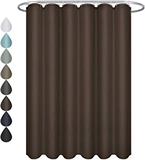 Eforgift Water Repellent Fabric Shower Curtain Polyester Standalone Easy Clean Shower Curtain Extra Long Durable and Soft, Reinforced Grommets, Tan, 72 x 84 inches