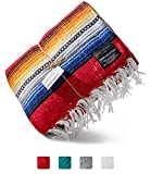 Premium Mexican Blanket | Authentic Hand Woven Falsa Blanket & Yoga Blanket, Made by Traditional Mexican Artisans | Perfect Camping Blanket, Beach Blanket, Picnic Blanket, Car Blanket (Rojo)