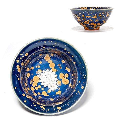 Mkuha Bol à thé en céramique-incrusté d'ornements en Argent Pur-adopte la Technologie Traditionnelle Chinoise 80ML-Bleu, Fleur
