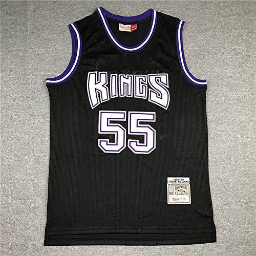 LYY Jerseys De Hombre, NBA Sacramento Reyes # 55 Jason Williams - Uniformes De Baloncesto Camisetas De Deporte Sin Mangas Clásicas Y Camisetas Cómodas,Negro,S(165~170CM)