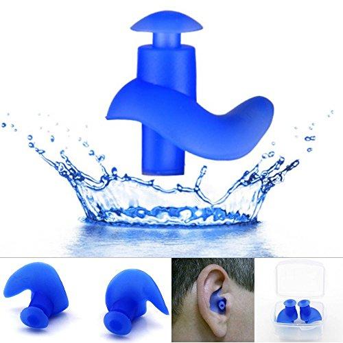 EROSPA® Ohrenstöpsel Silikon Sport Ohrstöpsel wasserdicht Schwimmen Tauchen Schnorcheln anatomisch geformt weich Soft Erwachsene Kinder Ear Plug blau schwarz 1 Paar Inclusive Aufbewahrungsbox (Blau)