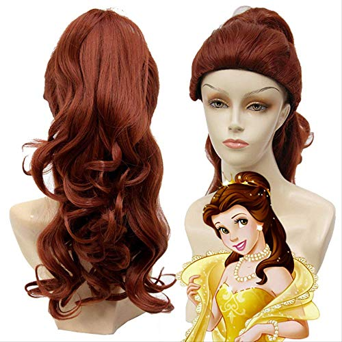 Beauty and the Beast Princess Belle 2019 Wig Mixed Dark Brown Light Brown Long Curly Hair Cosplay 1