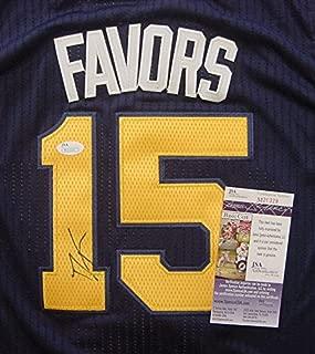 Derrick Favors Utah Jazz Autographed Blue #15 Jersey Size 50 JSA COA