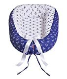 EINFÜHRUNGSPREIS 34,9 EUR STATT 45,9 EUR Scamp Premium Babynest für Babys, Säuglinge, Reisebett, antiallergisch, 100% Baumwolle, Oeko-Tex 100 Standard, mit Kokosmatratze(Ancora blue...