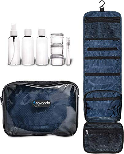 TRAVANDO ® Hanging Toiletry Bag'Flexi' + 7 Containers for Liquids -...