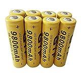 Eletam 8 Uds Universal 18650 3,7 V 9800 mAh baterías de Iones de Litio Recargables Punta celda de batería Principal para Linterna LED cámara antorcha