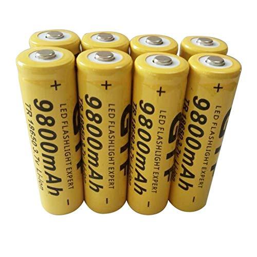 8 Uds Universal 18650 Battery 3,7 V 9800 mAh baterías recargables de iones de litio punta celda de batería principal para linterna LED cámara antorcha