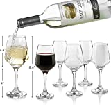Premium Wine Glasses 10 Ounce - Lead Free Clear Classic Wine Glass with Stem Pack of 6 - Great For...