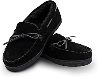 Womens Genuine Suede Leather Faux Fur Lined Moccasin Slippers Shoes, Classic Flat Moccasins for Women