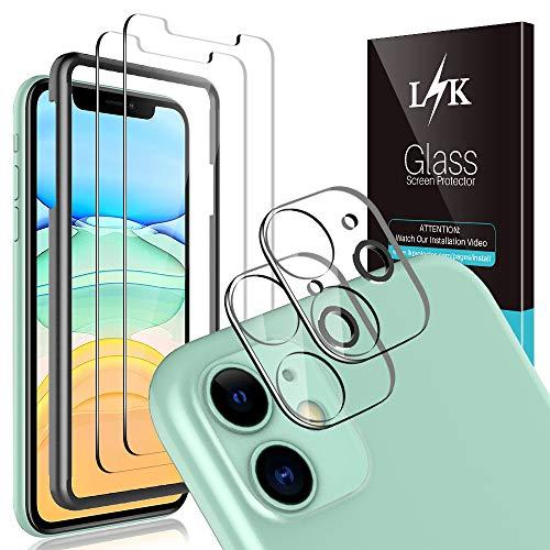 L K [4 Stück] 2 Stück Kamera Panzerglas für iPhone 11 6.1''+ 2 Stück Schutzfolie Panzerglas, [Bubble Free] [Anti-Kratzer] HD Klar Kameraschutz Folie Gehärtetem Glas Displayschutzfolie